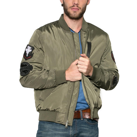Sonic Boom Patched Bomber Jacket // Army (S)