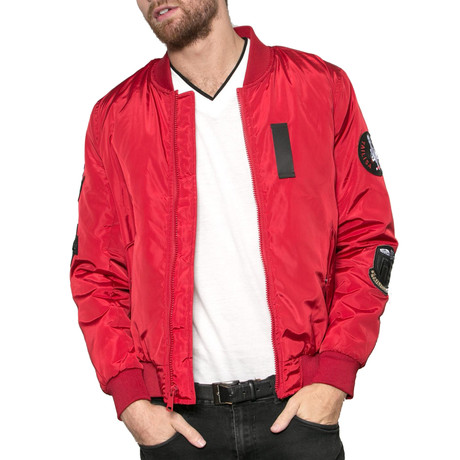 Lost Boys Patched Bomber Jacket // Red (S)