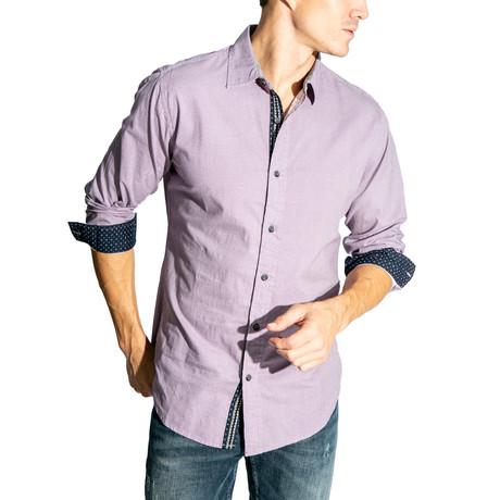 Long-Sleeve Button Down Woven // Purple (S)