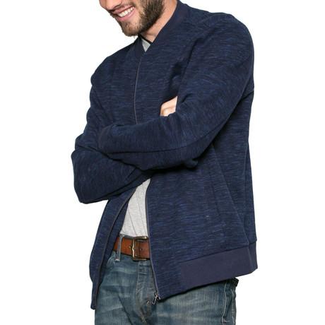 Blue Velvet Knit Zip-Up Sweater // Navy (S)