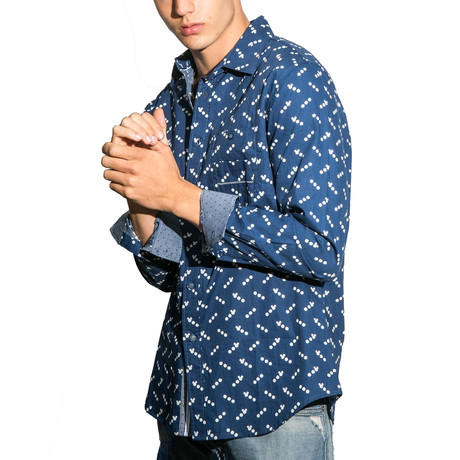 Valsain Long-Sleeve Button Down Knit // Navy (S)