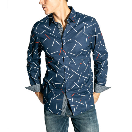 Line Long-Sleeve Button Down Woven // Navy (S)