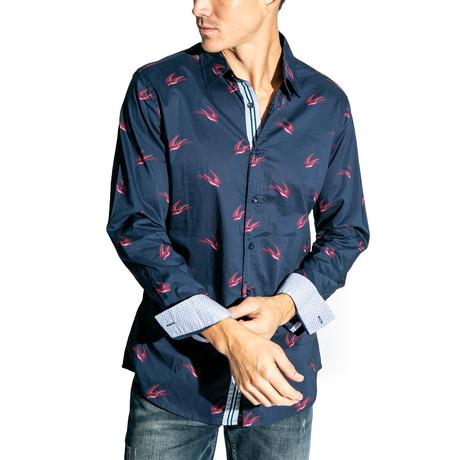 Bird Long-Sleeve Button Down Woven // Navy (S)
