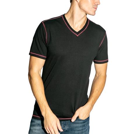 V-Neck Knit Tee // Black (S)