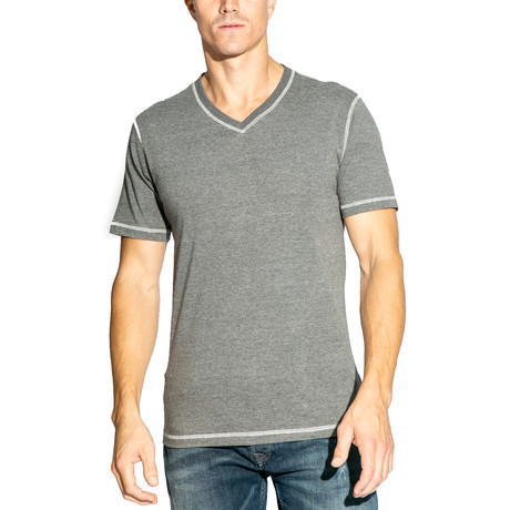 V-Neck Knit Tee // Charcoal (S)