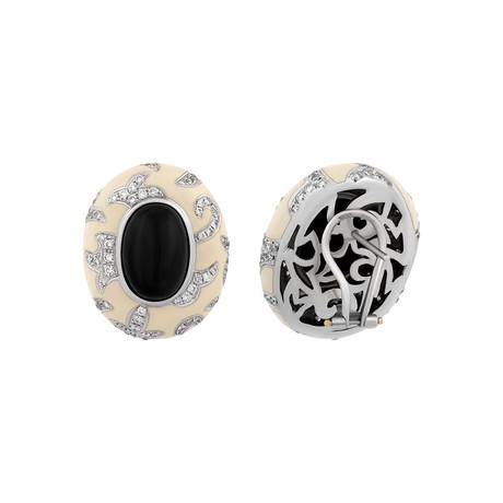 Nouvelle Bague Foglie d'Acanto 18k White Gold Diamond + Onyx White Enamel Earrings