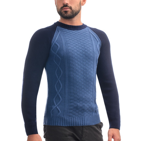 Wool Raglan Sweater + Geometric Design // Blue (S)