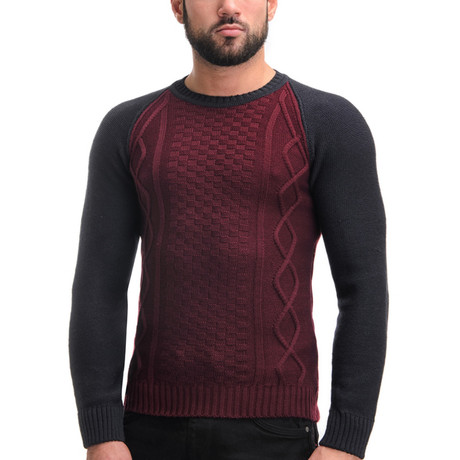 Wool Raglan Sweater + Geometric Design // Bordo (S)