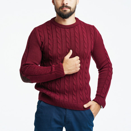Wool Cable Knit Sweater + Arm Patches // Bordeaux (S)