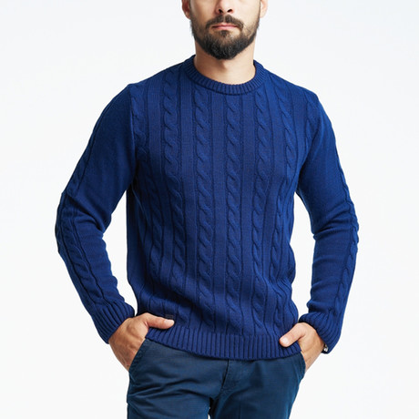 Cable Wool Sweater + Arm Patches // Navy (S)