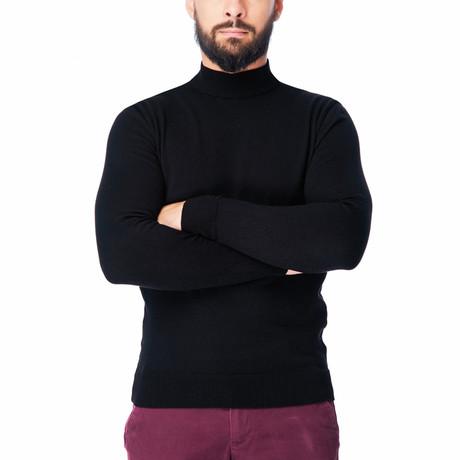 Wool Polo Mock Neck I // Black (S)