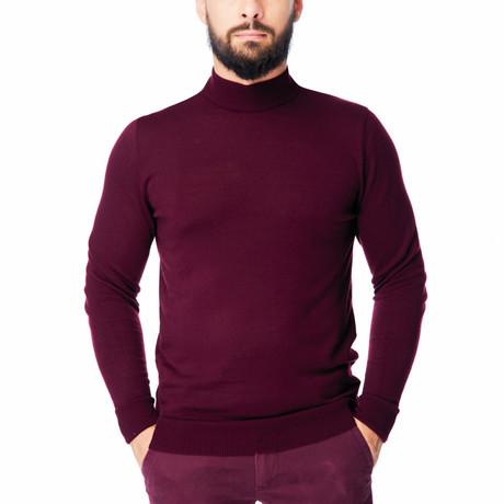 Wool Polo Mock Neck // Bordeaux (S)