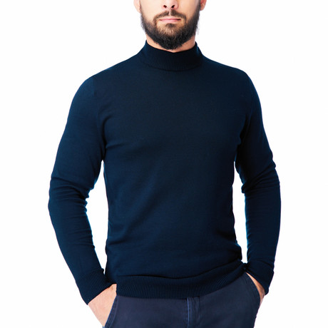 Wool Polo Mock Neck I // Navy (S)