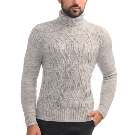 Wool Geometric Polo Neck + Arm Patches // Light Gray (S)