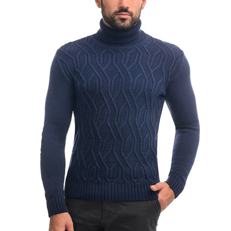Wool Geometric Polo Neck + Elbow Patches // Navy (S)