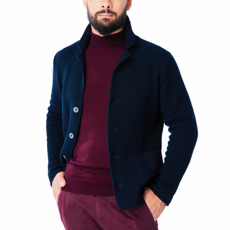 Wool Jacket + Puff Knit Design // Navy (L)