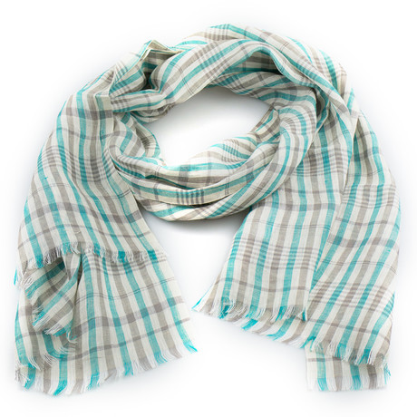 Ermenegildo Zegna // Plaid Linen Scarf // Blue + Brown (Blue, Brown)