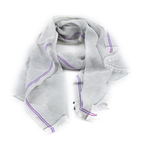 Ermenegildo Zegna // Striped Cotton Blend Scarf // Timberwolf Gray (Gray)