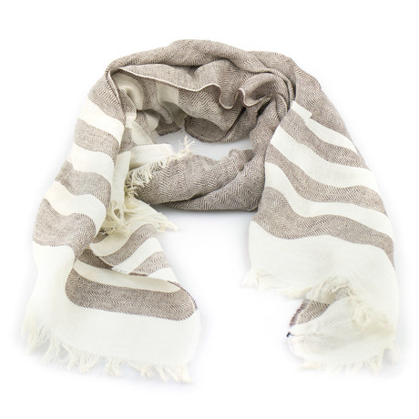 Ermenegildo Zegna // Herringbone Cotton Blend Scarf // Brown + White (Brown, White)