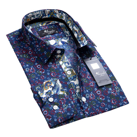Floral Reversible Cuff Button-Down Shirt I // Blue (XL)
