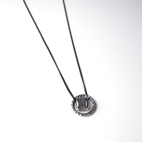 Antique Silver Ring + Pendant // Black Chain