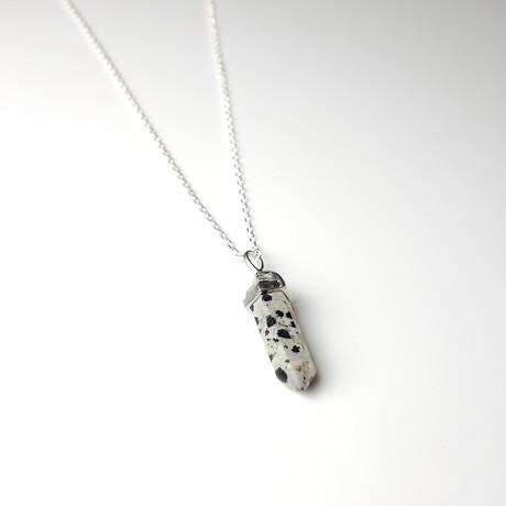Cow Print Pendant + Silver Chain