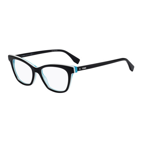 Fendi // Women's FF-0256 Acetate Optical Frames // Black + White + Blue