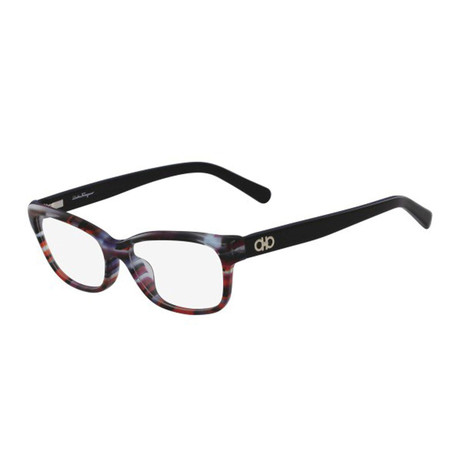 Ferragamo // Women's Acetate Optical Frames // Geometric Blue + Red