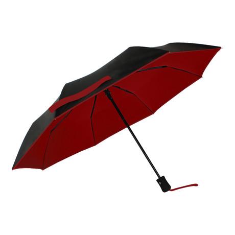 Folding Umbrella + UV Protection // Black + Red