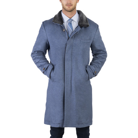 Cashmere Topcoat with Shearling Lining // Blue (XS)