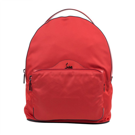 Backloubi Nylon + Leather Backpack // Red