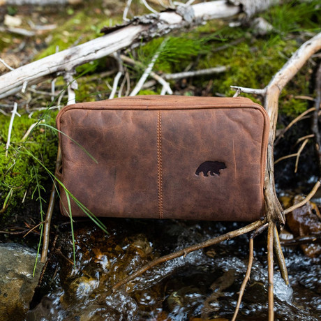 Leather Dopp Bag // Antique Brown