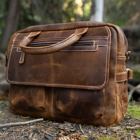 Leather Pilot's Bag (Antique Brown)