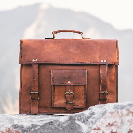 Kodiak Leather Satchel // Chestnut