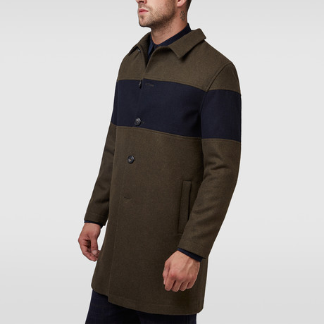 Willow Chest Panel Wool City Coat // Olive (XL)