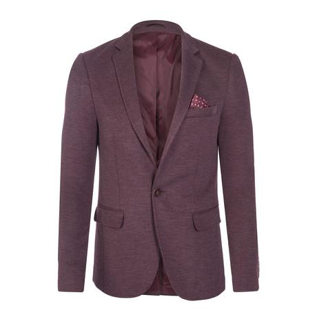 Pope Button Blazer Jacket // Bordeaux (S)