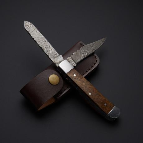 Trapper Double Blade // Damascus Walnut