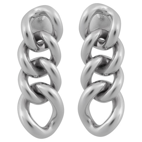 Bucherer 18k White Gold Link Drop Earrings
