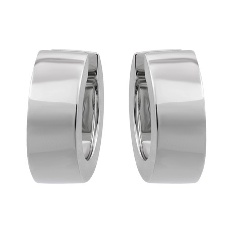 Bucherer 18k White Gold Hoop Huggie Earrings // Length: 0.60""