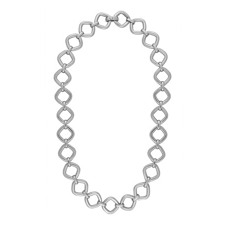 Bucherer 18k White Gold Diamond Square Link Necklace