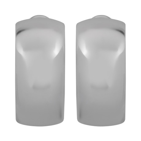 Bucherer 18k White Gold Huggie Earrings // Length: 0.60""