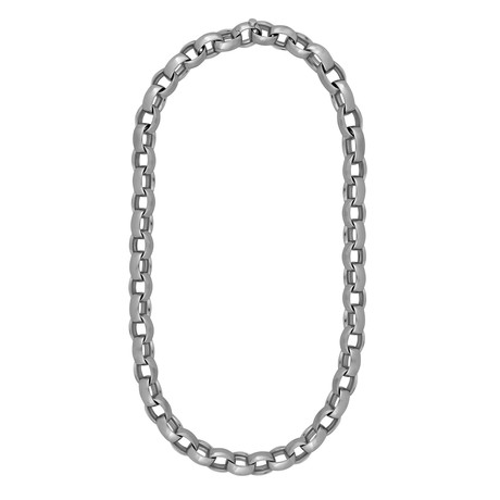 Bucherer 18k White Gold Oval Link Necklace