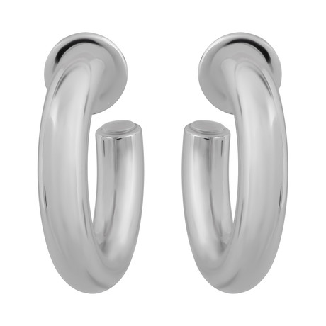 Bucherer 18k White Gold Oval Hoop Earrings