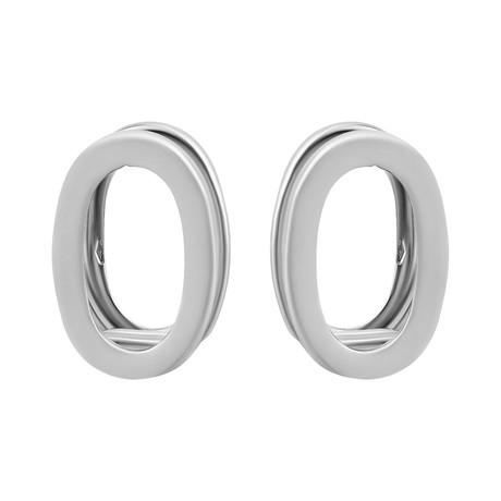 Bucherer 18k White Gold Double Oval Huggie Earrings