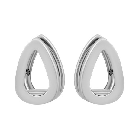 Bucherer 18k White Gold Double Teardrop Huggie Earrings