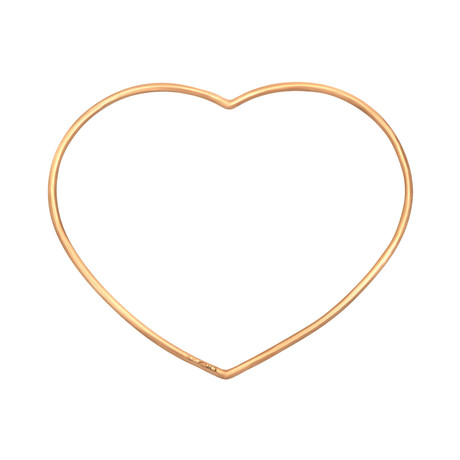 Bucherer 18k Rose Gold Heart Bangle Bracelet