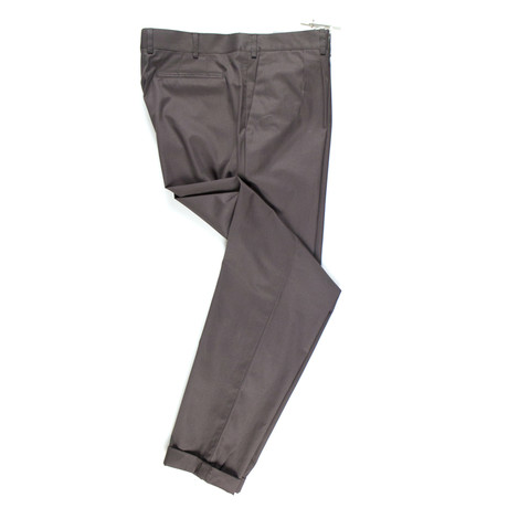 Cotton Pleated Casual Pants // Brown (44)