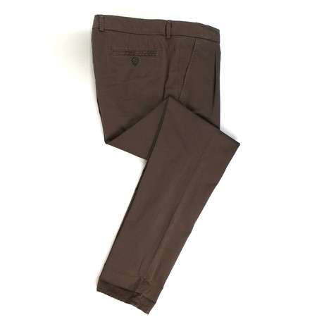 Cotton Pleated Casual Pants // Brown (56)