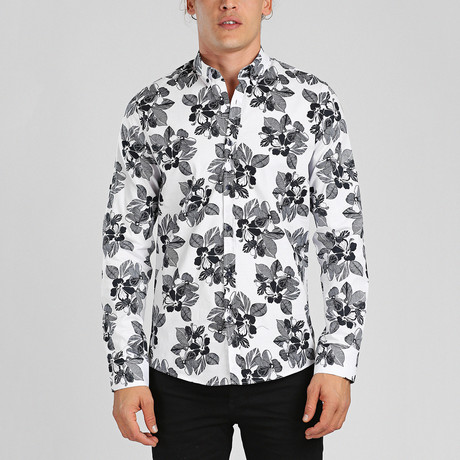 Zakynthos Button Down Shirt // White + Black (L)