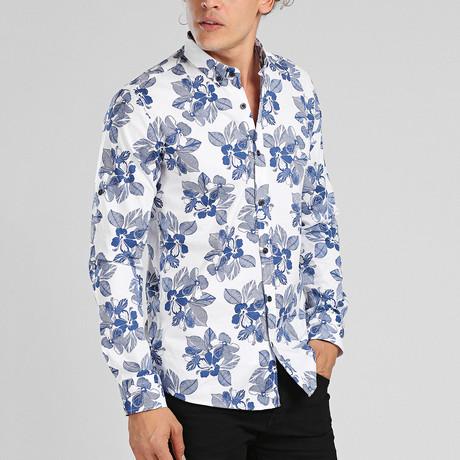 Punta Cana Button Down Shirt // White + Blue (L)